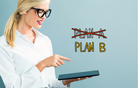 Plan B text with business woman using a tablet