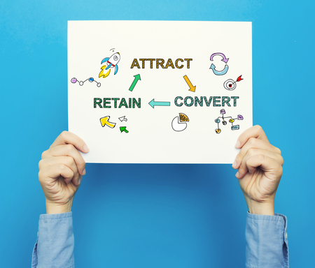 Attract Convert Retain text on a white poster on a blue background Stock Photo