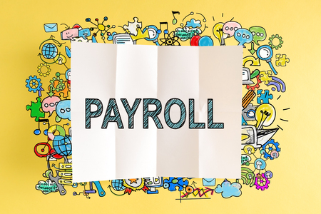 Payroll text with colorful illustrations on a yellow background Imagens