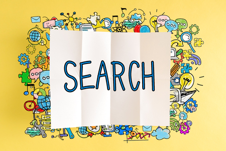 Search text with colorful illustrations on a yellow background