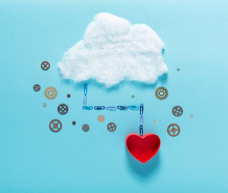 마음이나 사랑의 테마 클라우드 컴퓨팅 개념 스톡 콘텐츠