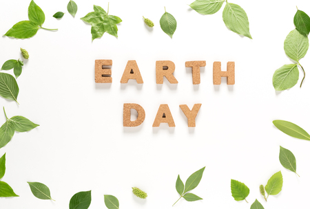 Earth Day text with green leaves top view flat lay Stock Photo