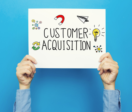 Customer Acquisition text on a white poster on a blue background