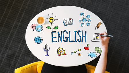 English text on a white table with a person holding a pen