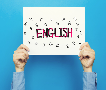 English text on a white poster on a blue background Stock Photo
