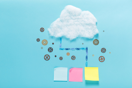 Cloud computing concept with pastel sticky notes