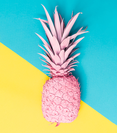 Painted pineapple on a vibrant duotone background Banco de Imagens
