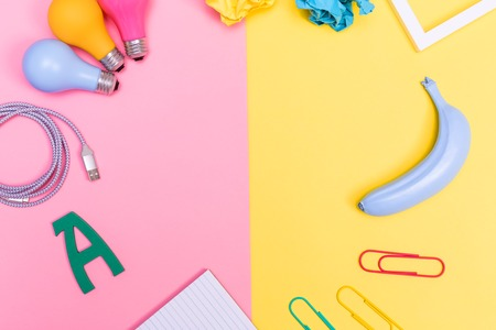Assorted bright objects on a vibrant background