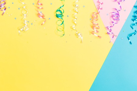 Party Theme With Streamers On A Vibrant Background Stock Photo Picture And Royalty Free Image 78339146