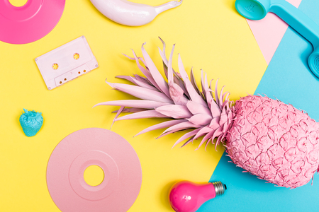 Vibrant colored objects on a vivid background