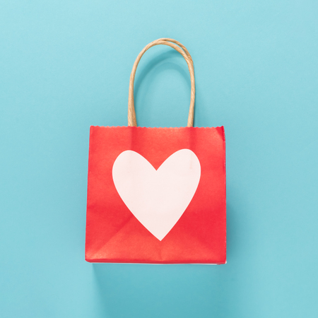 heart shaped: Valentines day theme with heart shaped bag