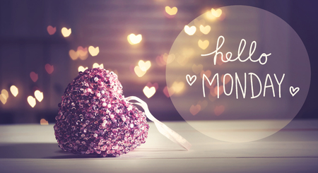 Hello Monday message with a pink heart with heart shaped lights