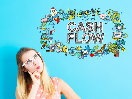 Cash Flow concept with young woman in a thoughtful pose