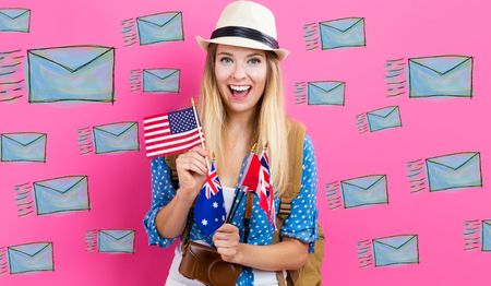 Email illustration with young woman with flags of English speaking countries