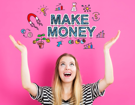 Make Money concept with young woman reaching and looking upwards 版權商用圖片