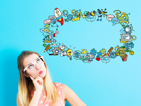 Young woman in a thoughtful pose with handwriting cartoon Stock Photo