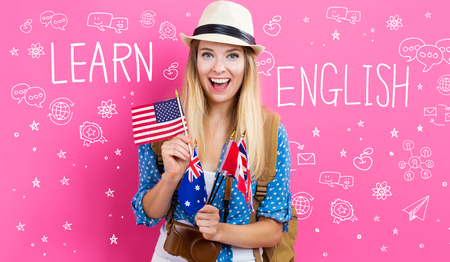 Learn English text with young woman with flags of English speaking countries