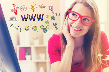 domains: WWW text with young woman in her home office