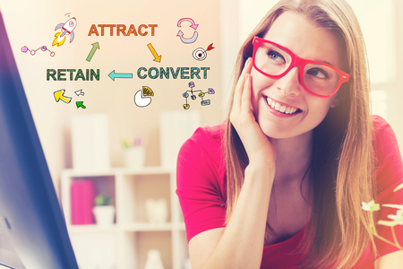 Attract Convert Retain text with young woman in her home office