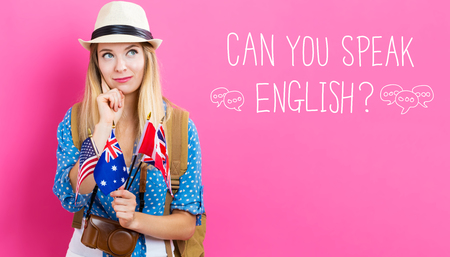 Can You Speak English text with young woman with flags of English speaking countries Banco de Imagens