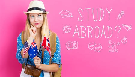 Study Abroad text with young woman with flags of English speaking countries Foto de archivo