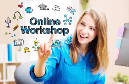 Online Workshop concept with young woman in her home office