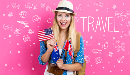 Travel text with young woman with flags of English speaking countries Stock Photo