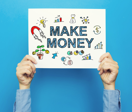 Make Money text on a white poster on a blue background