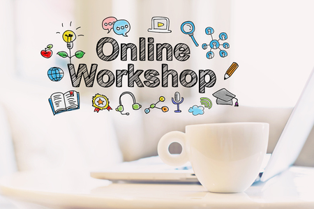 Online Workshop concept with a cup of coffee and a laptop Stock Photo