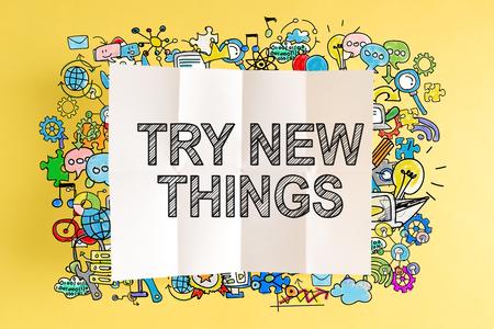 Probeer New Things-tekst met kleurrijke illustraties op een gele achtergrond