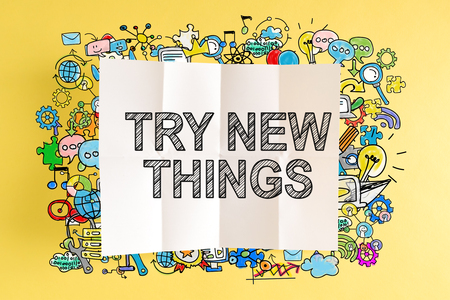 Try New Things text with colorful illustrations on a yellow background