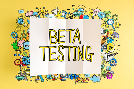 Beta Testing text with colorful illustrations on a yellow background Stock Photo