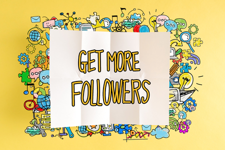 Get More Followers text with colorful illustrations on a yellow background