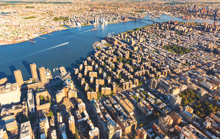 Aerial view of the Lower East Side of Manhattan with Brooklyn in the background