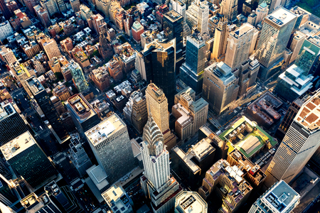 미드 타운 맨하탄 뉴욕시의 고층 빌딩의 공중보기 스톡 콘텐츠
