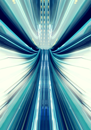 Abstract high speed technology concept image from the Yuikamome automated guidway in Tokyo