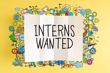 Interns Wanted text with colorful illustrations on a yellow background Stock Photo