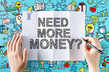 Need More Money text with hands and colorful illustrations