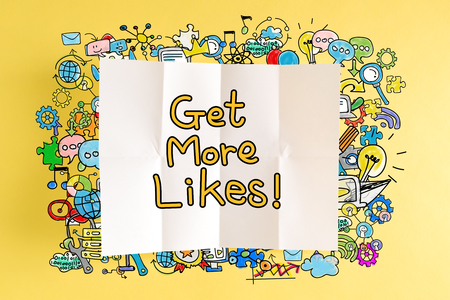Get More Likes text with colorful illustrations on a yellow background Reklamní fotografie