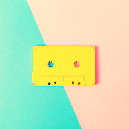 minimal: Retro cassette tapes on a bright duotone background