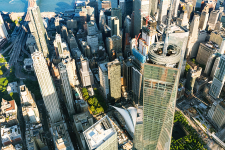 Aerial view of the Freedom Tower at One World Trade Center, Manhattan, New York