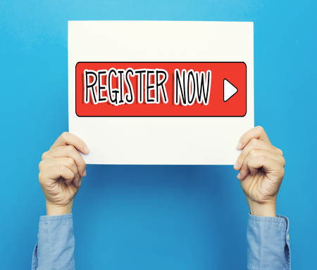 Register Now text on a white poster on a blue background