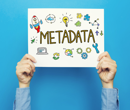 metadata: Metadata text on a white poster on a blue background