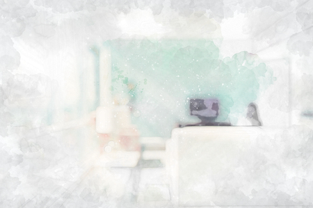 Abstract sketch of a bright modern luxury interior space
