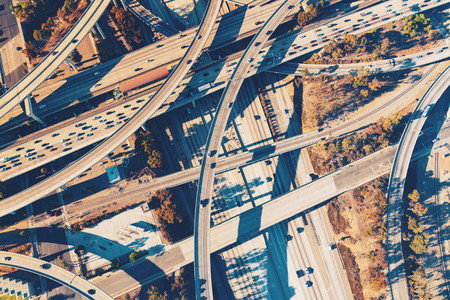 Aerial view of a massive highway intersection in Los Angeles Banco de Imagens - 81698924