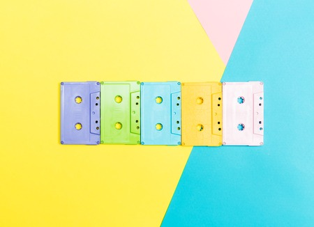 Cassette tapes on a bright split tone background Stock Photo