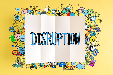 Disruption text with colorful illustrations on a yellow background Stock Photo