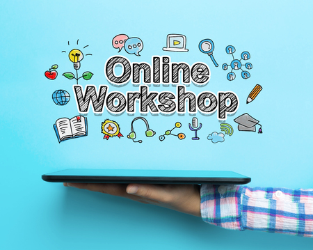 Online Workshop concept with a tablet on blue background Stock Photo - 80080220