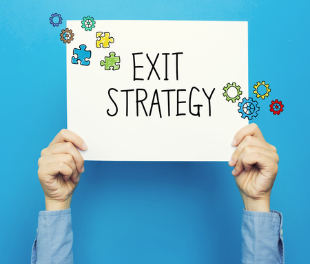 Exit Strategy text on a white poster on a blue background