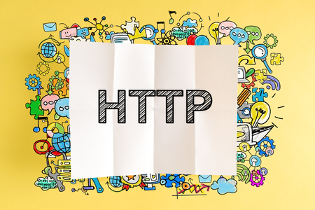 黄色の背景にカラフルなイラストと HTTP テキスト 写真素材